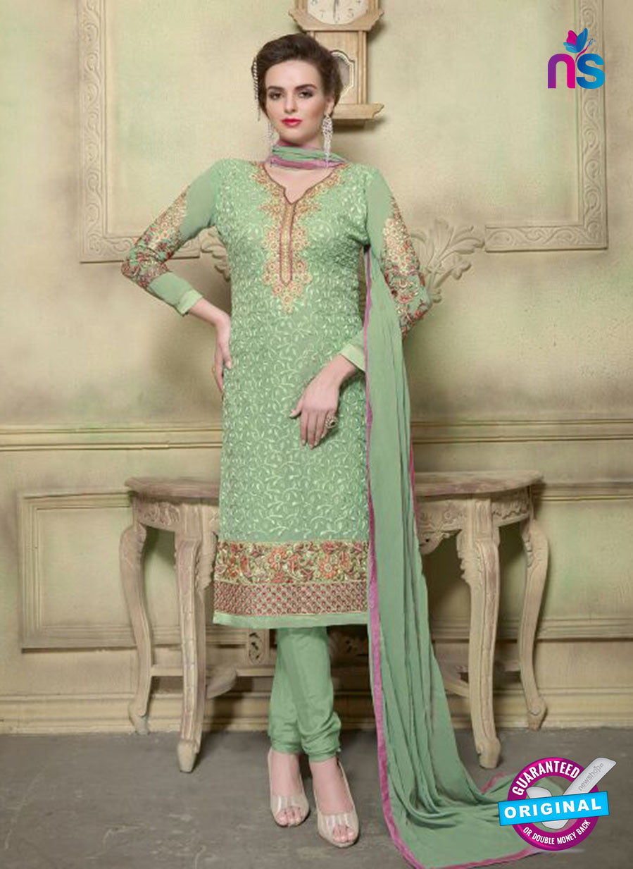 SC 12353 Green Georgette with Schiffli Work Party Wear Straight Suit