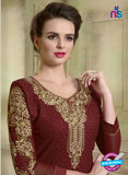 SC 12354 Maroon Georgette with Schiffli Work Party Wear Straight Suit Online