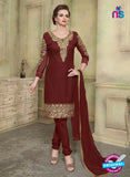 SC 12354 Maroon Georgette with Schiffli Work Party Wear Straight Suit