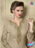 SC 12351 Beige Georgette with Schiffli Work Party Wear Straight Suit Online