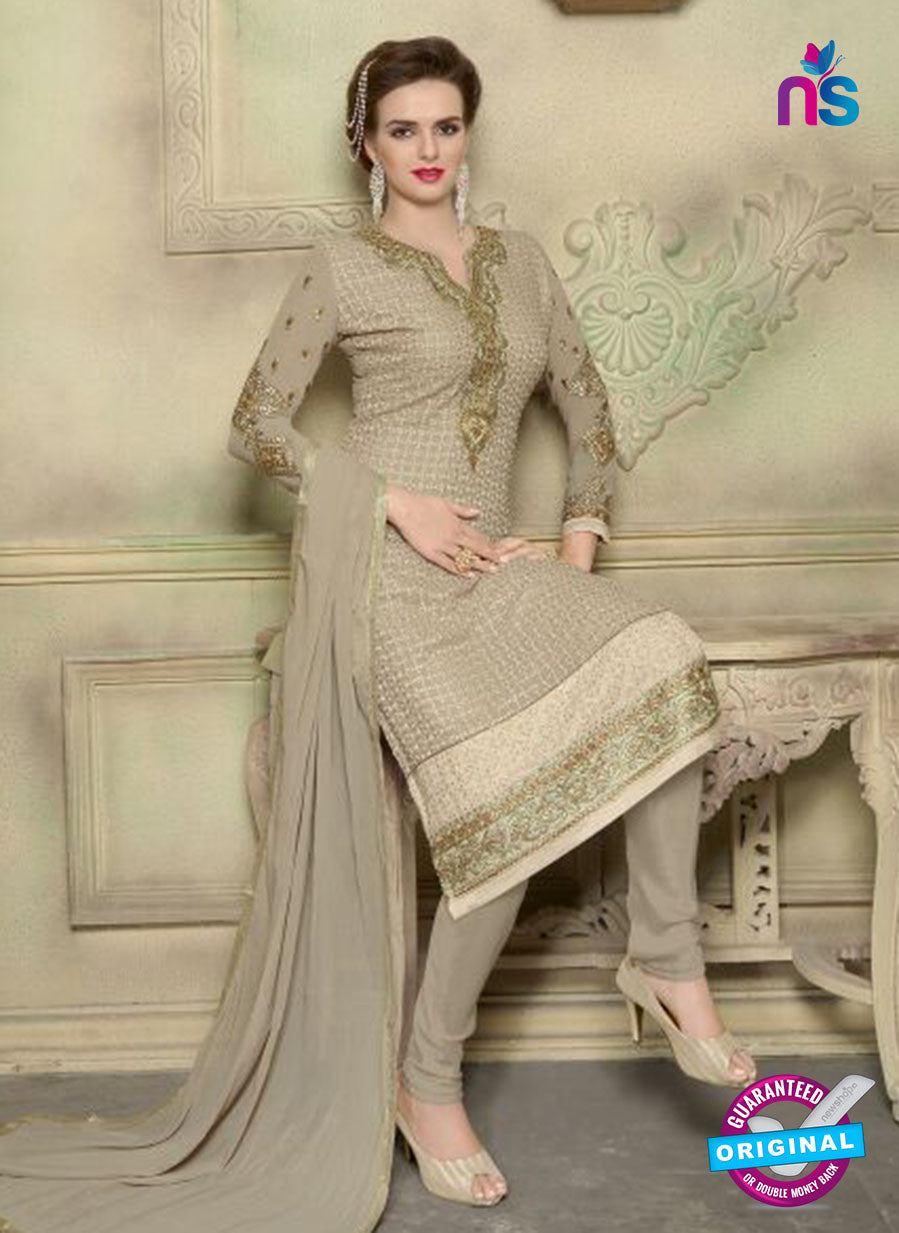 SC 12351 Beige Georgette with Schiffli Work Party Wear Straight Suit
