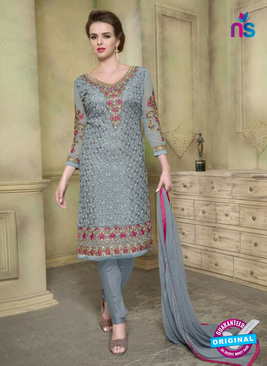 SC 12348 Grey and Magenta Georgette with Schiffli Work Party Wear Straight Suit