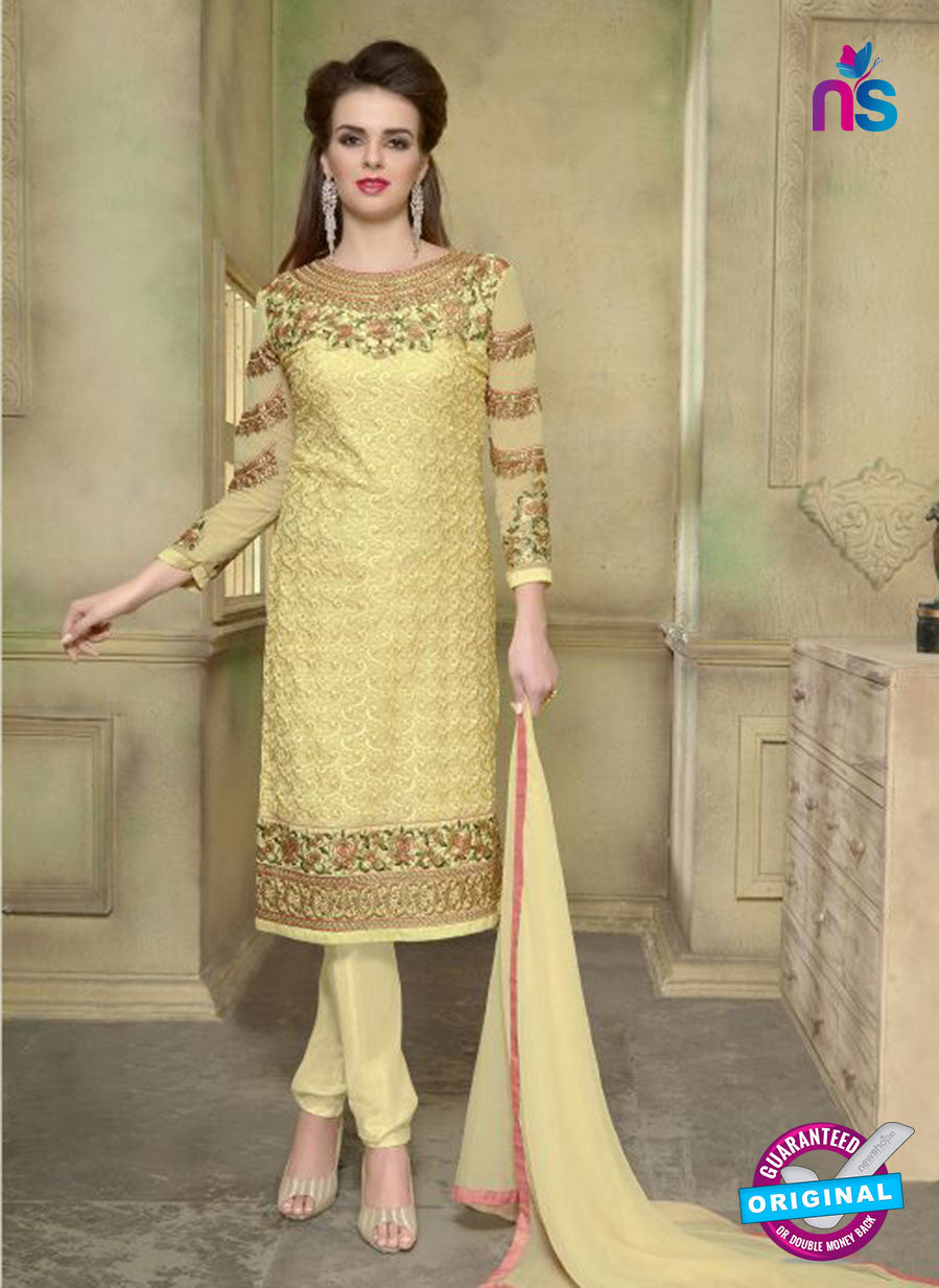 SC 12352 Yellow Georgette with Schiffli Work Party Wear Straight Suit