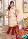 NS12225 Ivory and Red Chudidar Suit