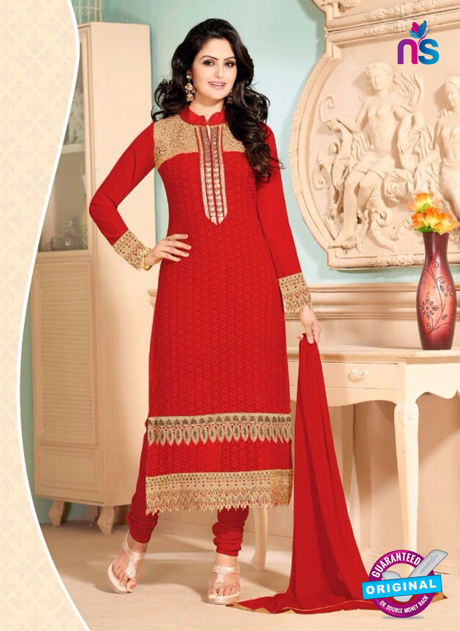NS10910 Red Georgette Straight Suit