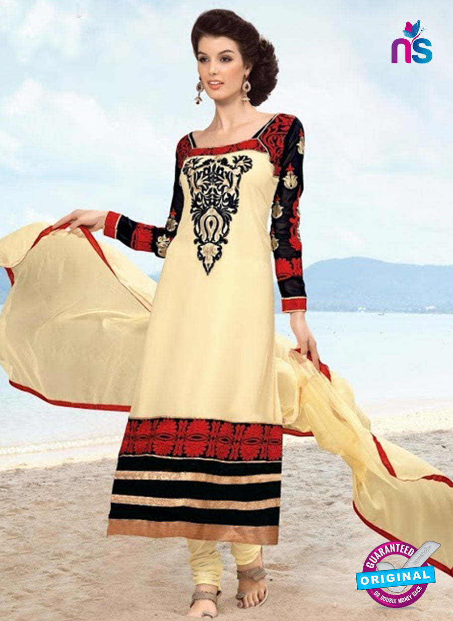 NS10487 Black and Beige Georgette Straight Suit