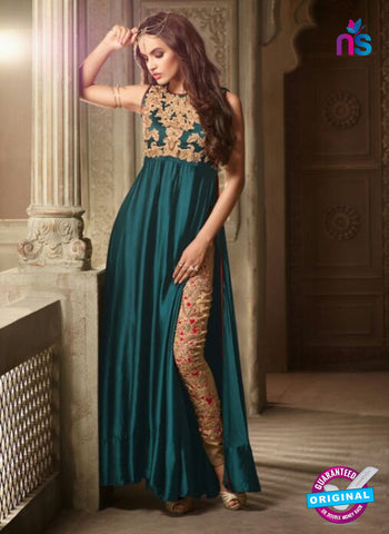 Maskeen 3502 Sea Green Satin Indo Western Suit