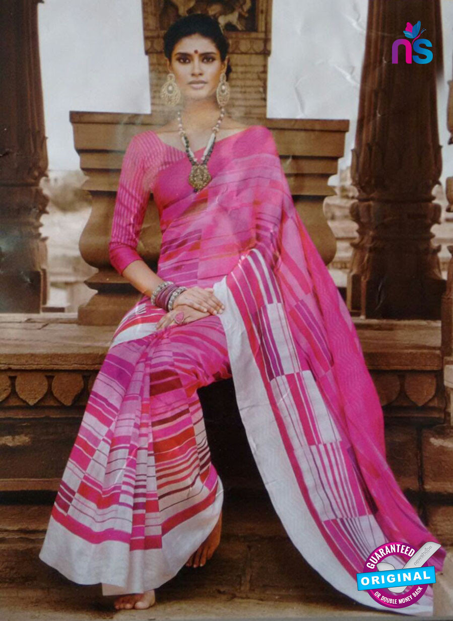 SC 13210 Pink and White Bhagalpuri Saree