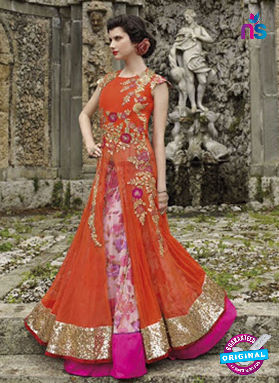 NS 12405 Orange and Magenta Embroidered Net Occasion Wear Desinger Gawn
