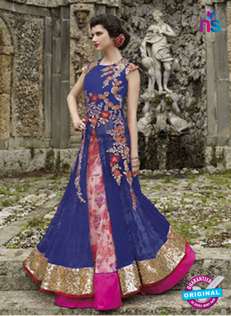 NS 12404 Blue and Magenta Embroidered Net Occasion Wear Desinger Gawn