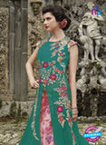 NS 12403 SeaGreen and Magenta Embroidered Net Occasion Wear Desinger Gawn