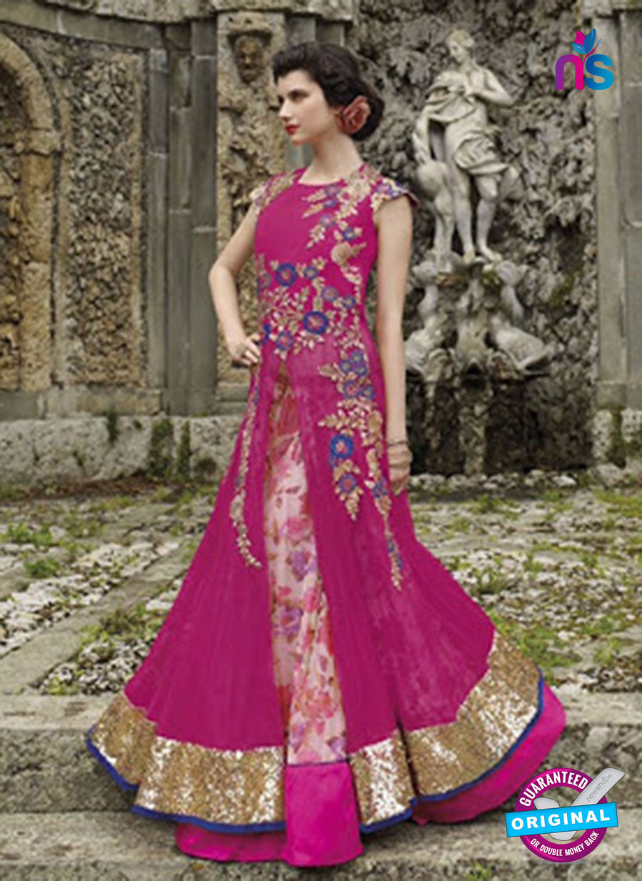 NS 12402 Magenta Embroidered Net Occasion Wear Desinger Gawn