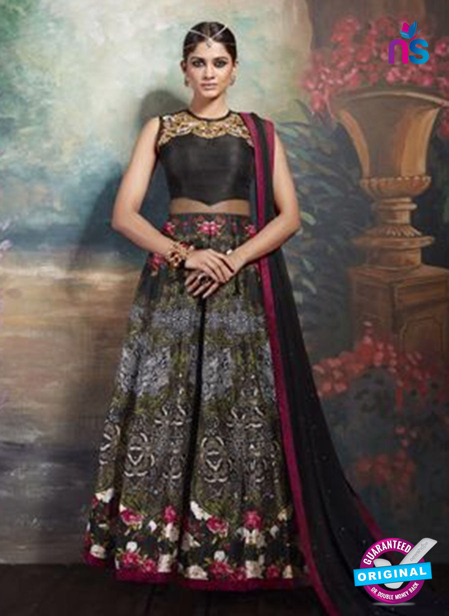 AZ 3731 Black Art Silk and Net Anarkali Suit
