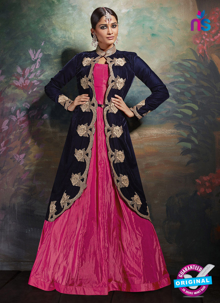 AZ 3734 Blue and Pink Art Silk Indo Western Suit