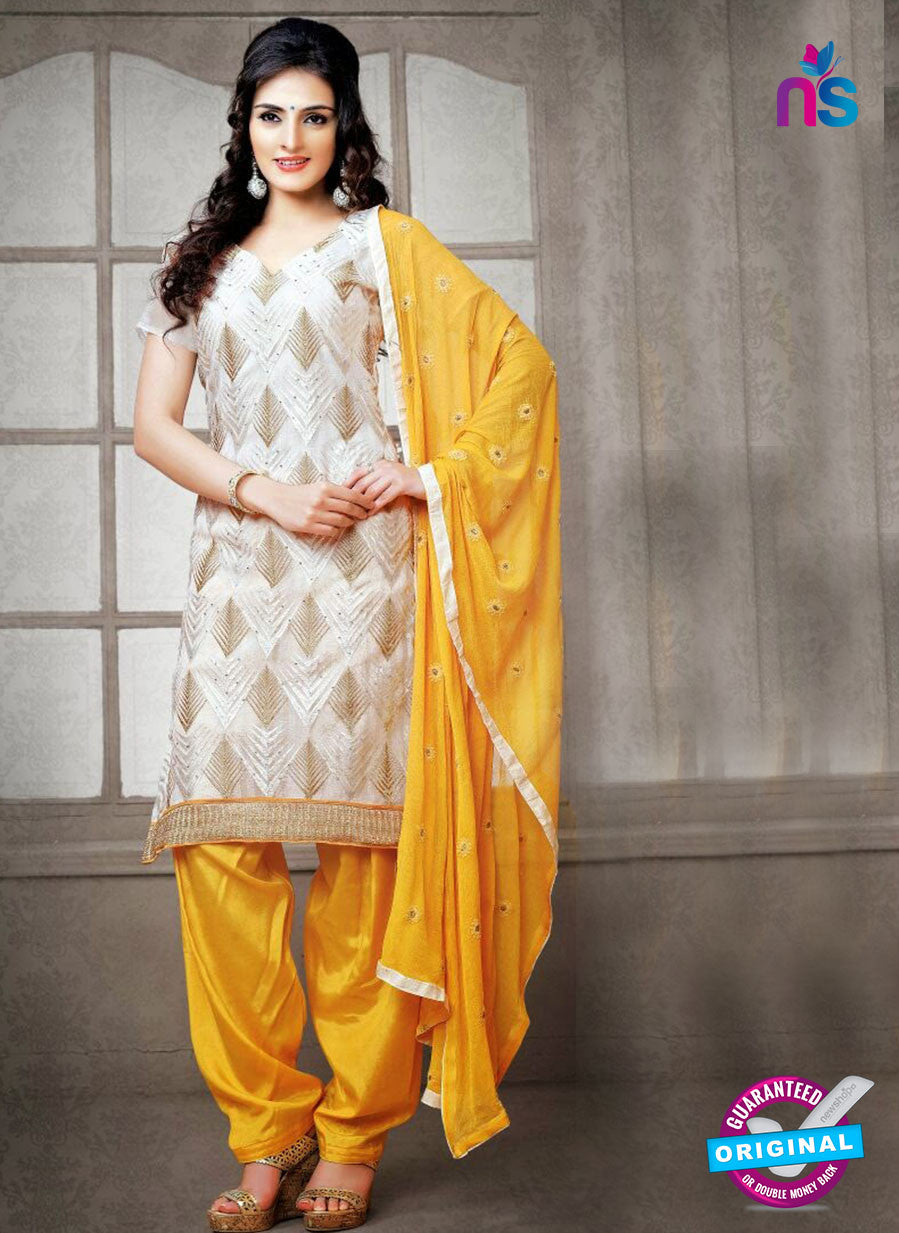 NS12226 Ivory and Yellow Chudidar Suit