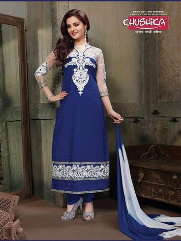 NS11230 Ivory and Blue Pure Cotton Long Straight Suit