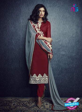 SC 13423 Maroon and Grey Designer Exclusive Party Wear Fancy Straight Suit