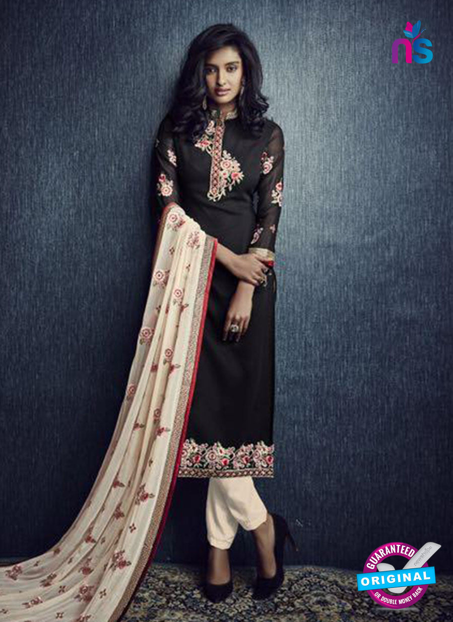 SC 13420 Black and Beige Designer Exclusive Party Wear Fancy Straight Suit