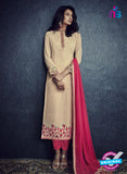 SC 13421 Beige and Pink Designer Exclusive Party Wear Fancy Straight Suit