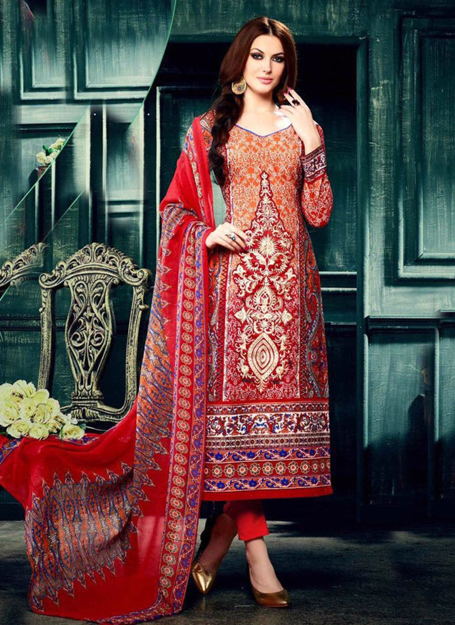 NS11622 Red Color Cotton Designer Suit