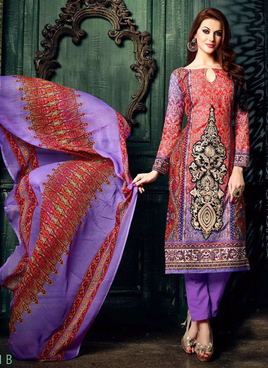 NS11623 Purple & Red Color Cotton Designer Suit