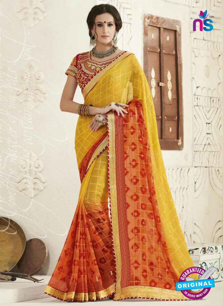 AZ 2243 Yellow and Orange Georgette Party Wear Saree