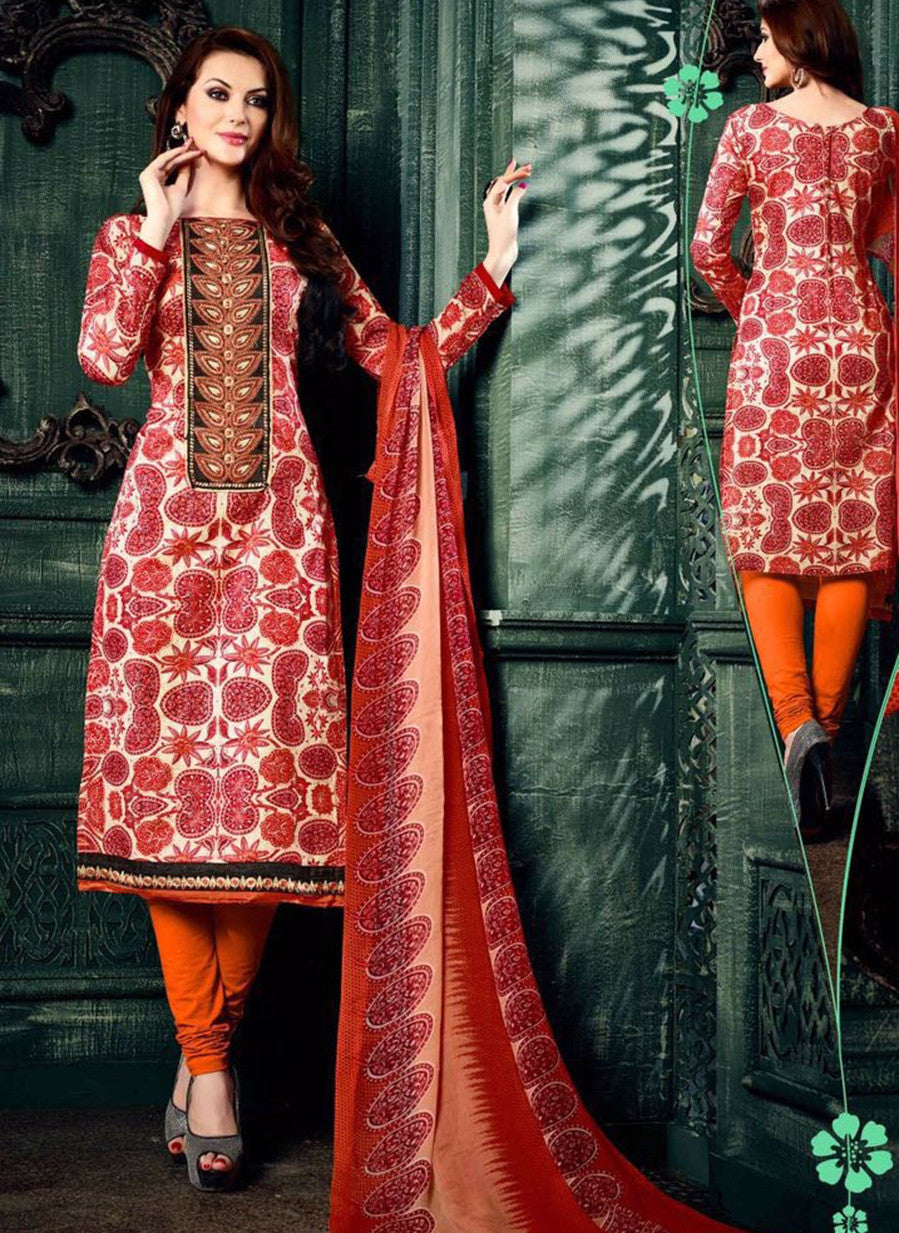 NS11625 Red & Orange Color Cotton Designer Suit