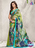 AZ 2230 Green and Multicolor Satin Georgette Fancy Printed Saree