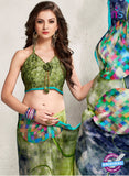 AZ 2230 Green and Multicolor Satin Georgette Fancy Printed Saree - Sarees - NEW SHOP