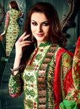 NS11626 Green & Red Color Cotton Designer Suit Online