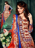 NS11627 Blue & Red Color Cotton Designer Suit