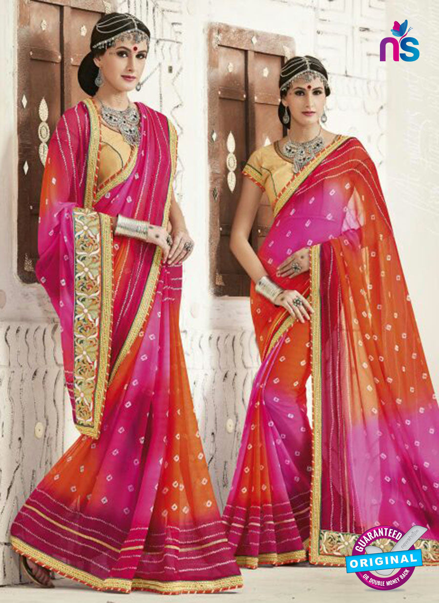 AZ 2245 Pink and Orange Georgette Party Wear Saree