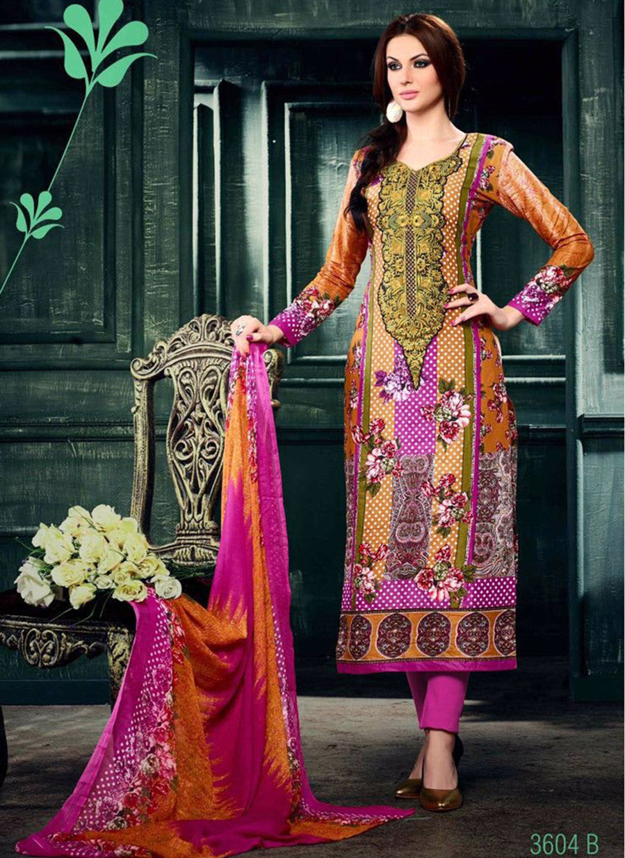 NS11629 Pink & Orange Color Cotton Designer Suit