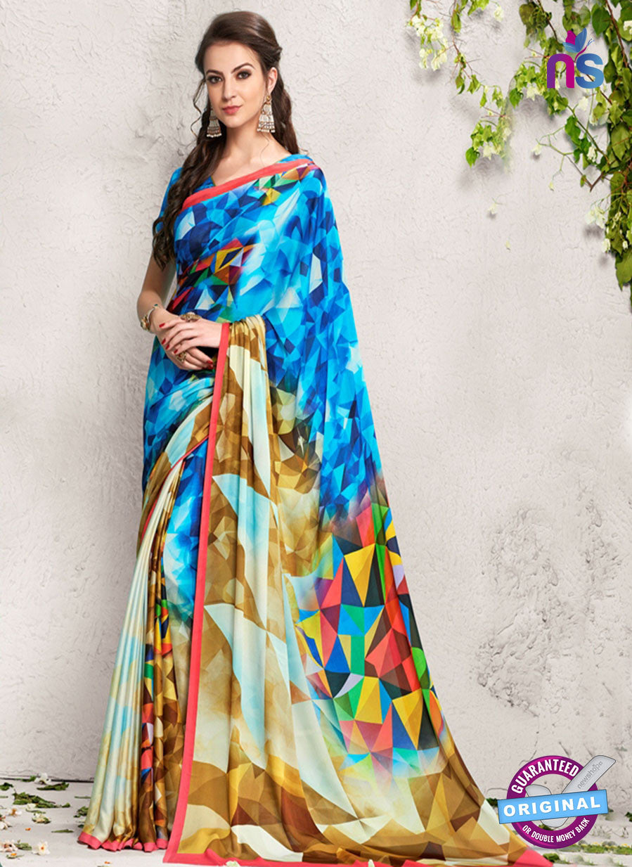 AZ 2232 Blue and Multicolor Satin Georgette Fancy Printed Saree