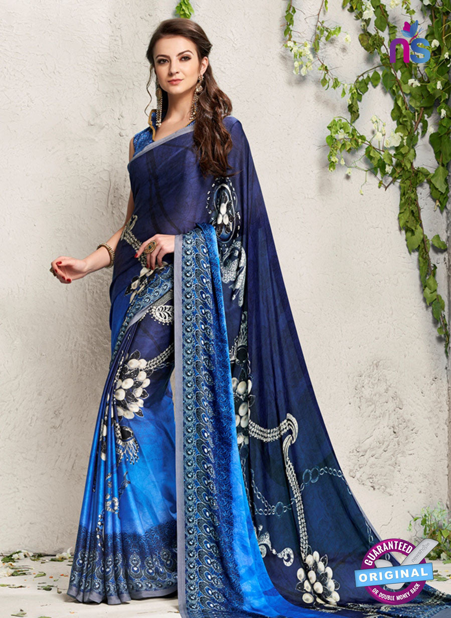 AZ 2233 Blue Satin Georgette Fancy Printed Saree