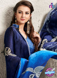 AZ 2233 Blue Satin Georgette Fancy Printed Saree - Sarees - NEW SHOP