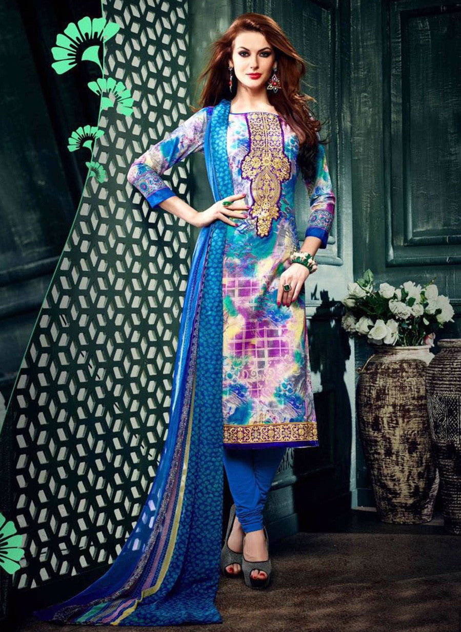 NS11633 Blue Color Cotton Designer Suit