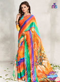 AZ 2234 Orange and Multicolor Satin Georgette Fancy Printed Saree