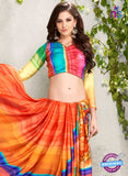 AZ 2234 Orange and Multicolor Satin Georgette Fancy Printed Saree - Sarees - NEW SHOP