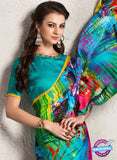 AZ 2235 Sky Blue and Multicolor Satin Georgette Fancy Printed Saree