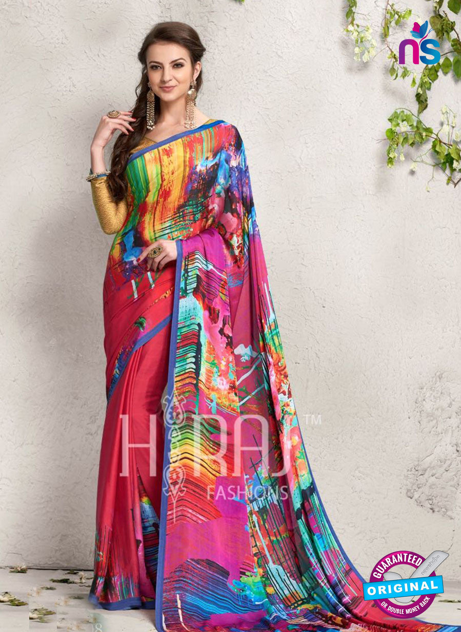 AZ 2236 Red and Multicolor Satin Georgette Fancy Printed Saree