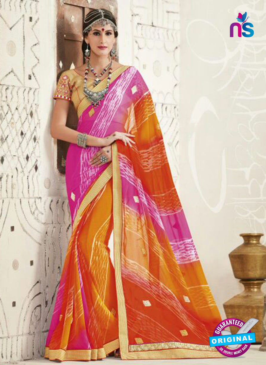 AZ 2250 Orange and Pink Georgette Party Wear Saree