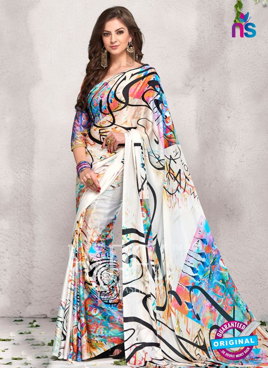 AZ 2237 White and Multicolor Satin Georgette Fancy Printed Saree