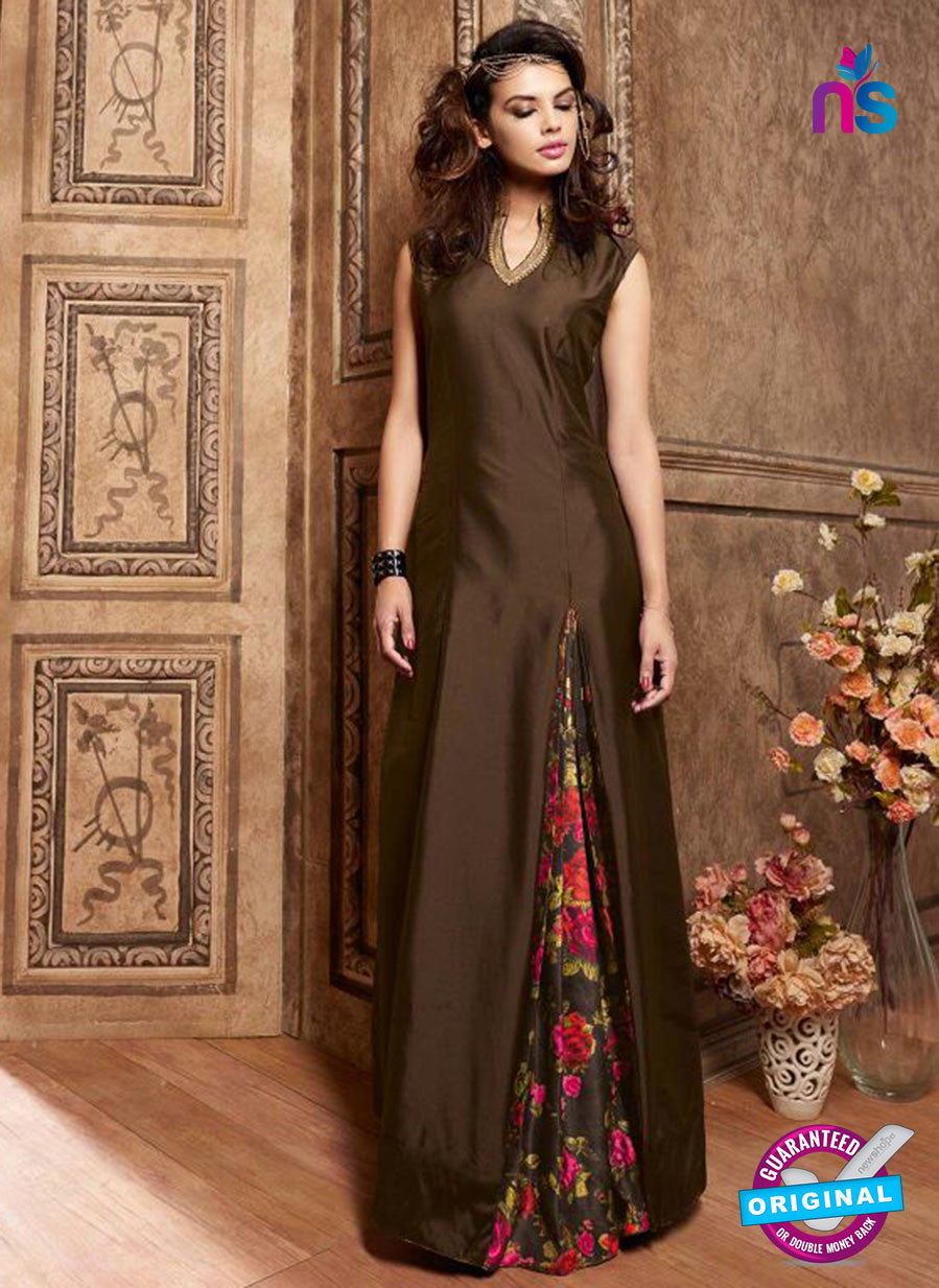 Maskeen 3609 Brown Silk Indo Western Suit
