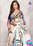 AZ 2237 White and Multicolor Satin Georgette Fancy Printed Saree - Sarees - NEW SHOP
