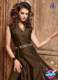 Maskeen 3609 Brown Silk Indo Western Suit Online