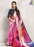 AZ 2238 Pink and Multicolor Satin Georgette Fancy Printed Saree