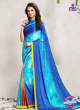 AZ 2239 Sky Blue Satin Georgette Fancy Printed Saree