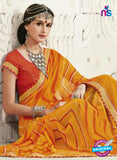 AZ 2253 Yellow and Orange Georgette Party Wear Saree - Sarees - NEW SHOP