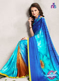 AZ 2239 Sky Blue Satin Georgette Fancy Printed Saree - Sarees - NEW SHOP